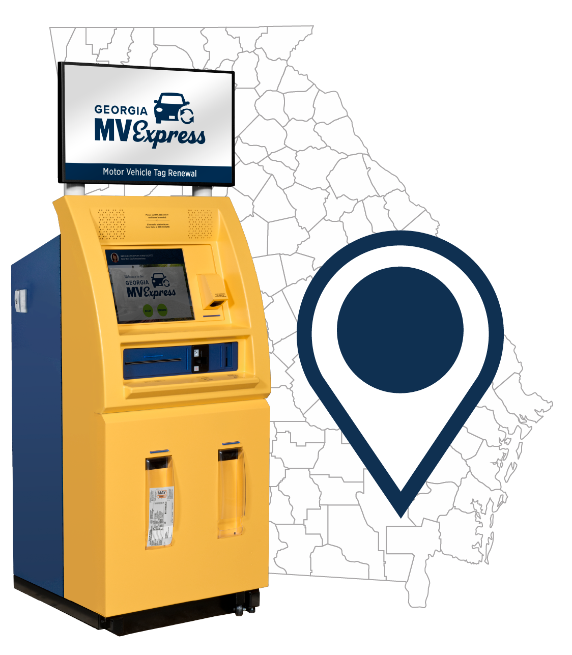 GA County Map with Kiosk